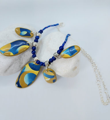 Yellow & Blue Patchwork  Necklace