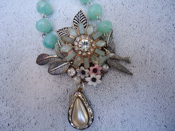 Floral collage pendant turquoise and silver