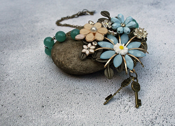 Floral blush pink and turquoise pendant necklace