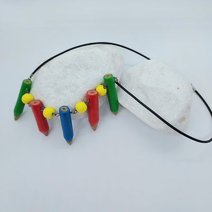 5 Crayon Necklace Yellow