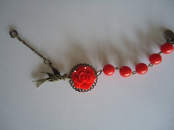 Red rose beaded bracelet wedding bridesmaid