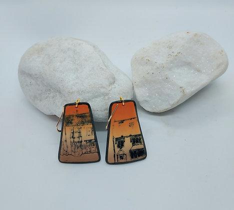 Orange cityscape earrings