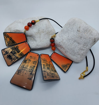 Orange blended cityscape necklace