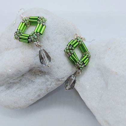 Square Crystal Earrings Green