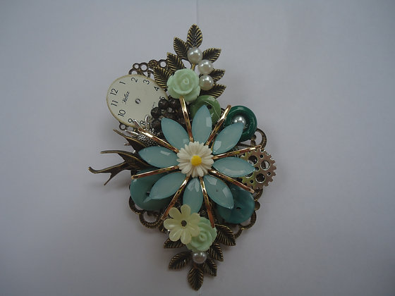 Floral turquoise and white collage Brooch