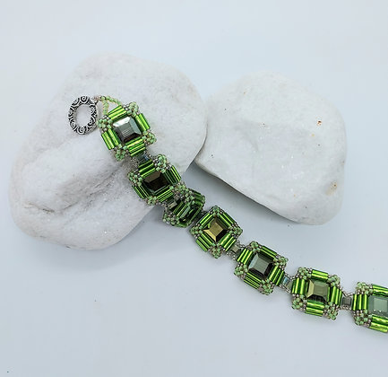 Square Crystal Bracelet Green