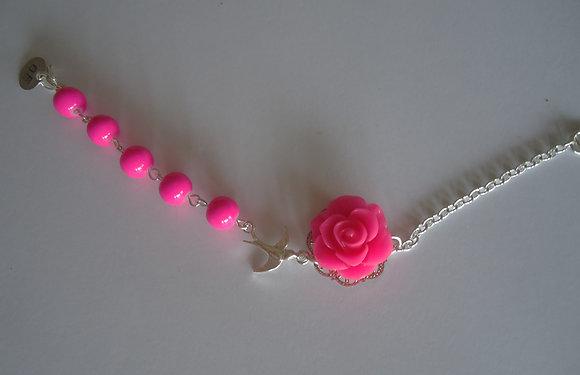 Cerise pink rose bracelet wedding bridesmaid