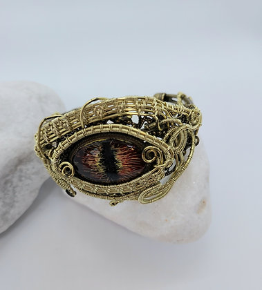 Wire Wrapped Cats Eye Bangle