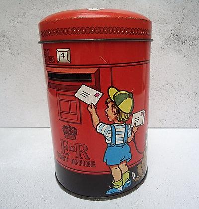 Cute red vintage tin pillar box money box
