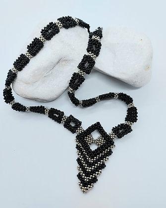 Black & Silver Art Deco Necklace