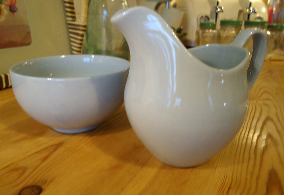 Johnson's Cloud Sugar Bowl and Creamer
