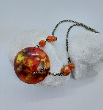 Orange alcohol ink pendant