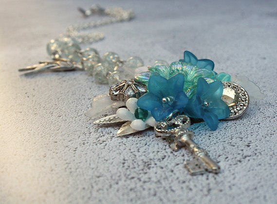 Lucite Necklace in Turquoise and White