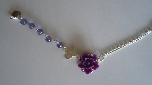 Purple rose beaded bracelet wedding bridesmaid