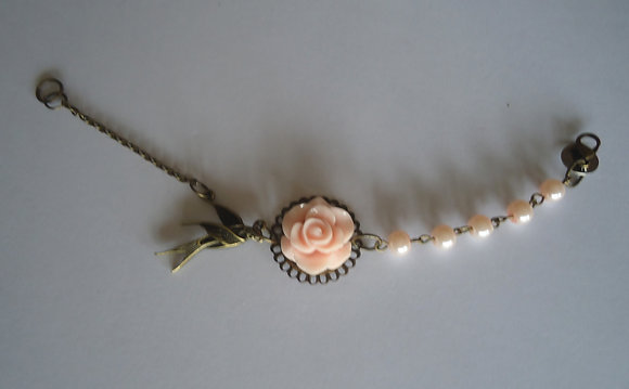 Pale peach rose beaded bracelet wedding bridesmaid