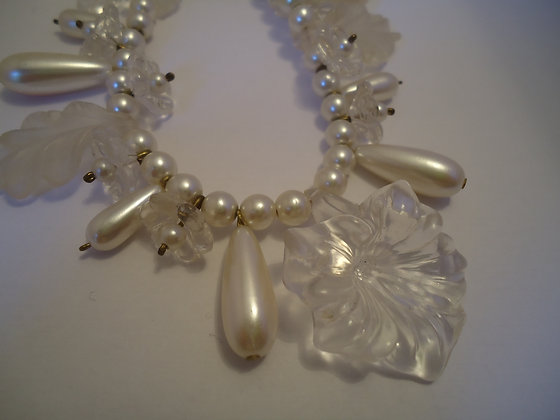 Vintage Lucite and Faux Pearl Necklace
