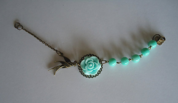 Turquoise rose beaded bracelet wedding bridesmaid