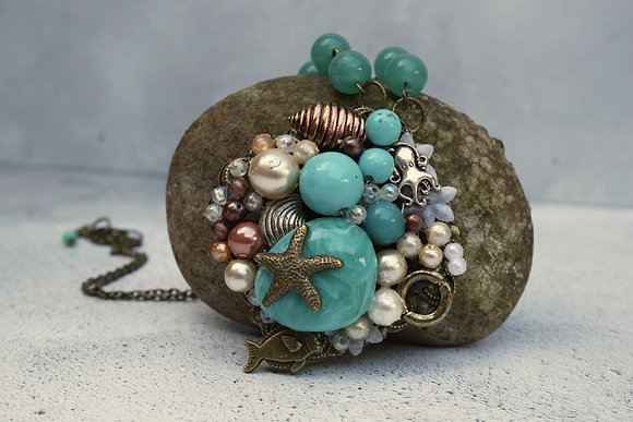 Coastal inspired large pendant necklace