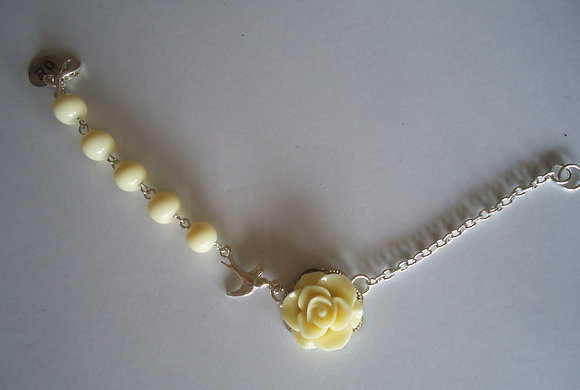 Cream rose beaded bracelet wedding bridesmaid