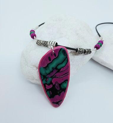 Cerise & Teal pendant Necklace