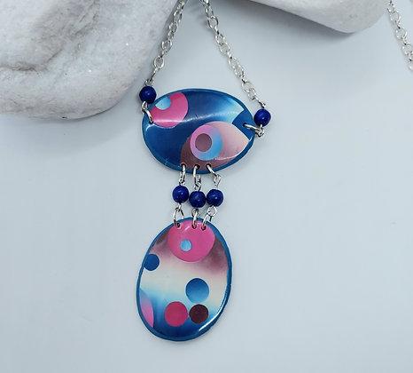 Blue & Cerise Double Patchwork Pendant