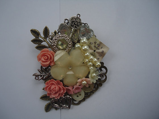 Floral coral and cream collage Brooch