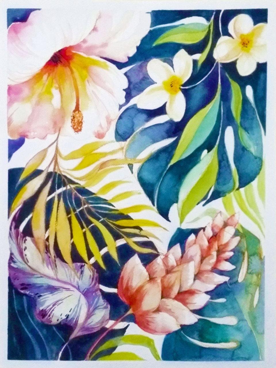 Tropical Flowers in Watercolor