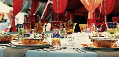 Colourful dinner setting