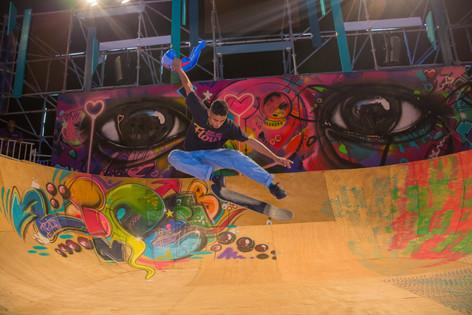 Skateborder and Graffiti mural