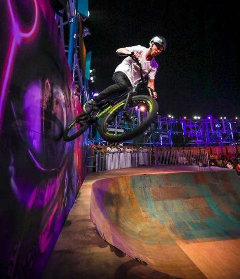 BMX biker on half pipe