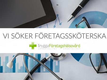 Vi söker en leg. sjuksköterska/företagssköterska till Tryggakliniken Företagshälsovård AB i Bromölla