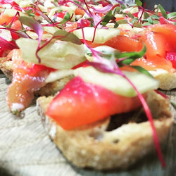 Beetroot Cured Salmon Canapes