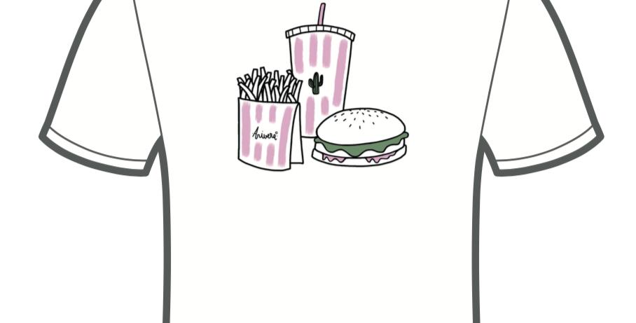 """Tee-shirt """"Hamburger Frites sauce Cactus"""""""