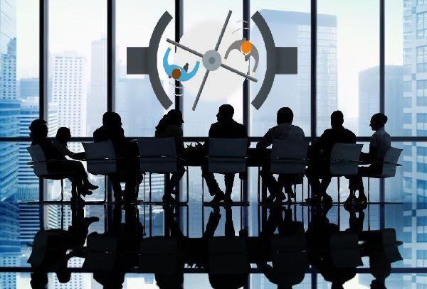 Reunión, gerentes, puerta giratoria