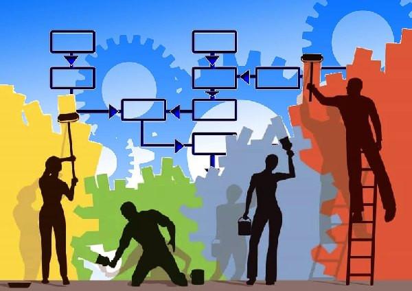 procesos, gente trabajando