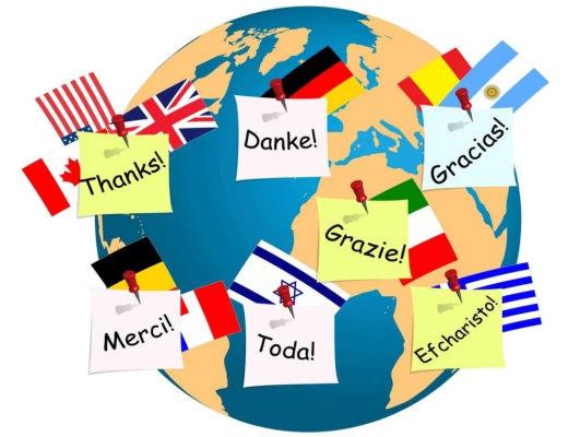Globo terráqueo, banderas, saludos, idiomas