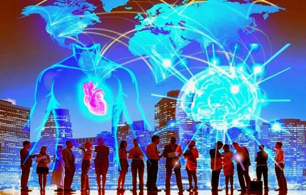 Personas, corazón, cerebro, rayos