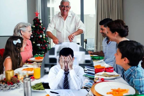 comida familiar, persona preocupada