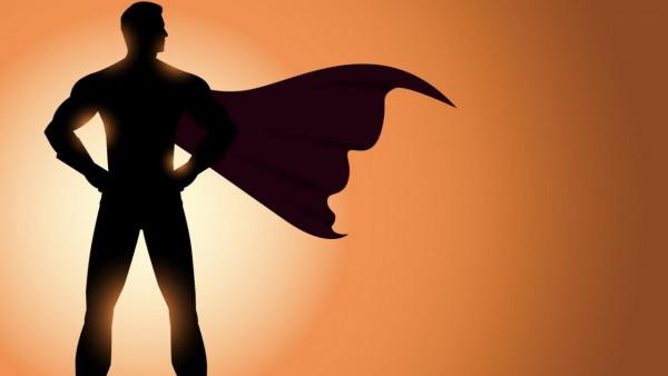 superhéroe, silueta con capa