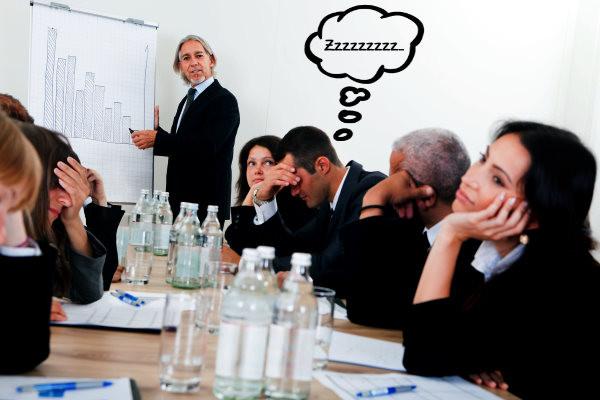presentación aburrida, ejecutivos, reunión