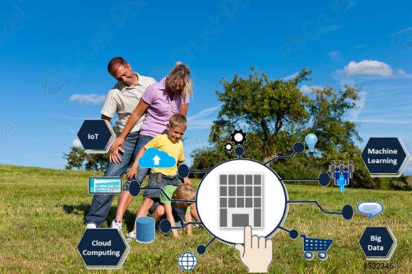 Familia disfrutando, juegos, naturaleza, transformación digital