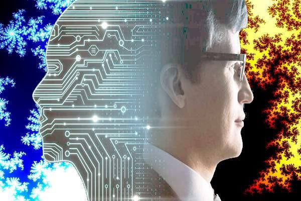 Persona con anteojos, cerebro artificial, fractales