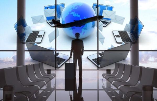 aeropuerto, ejecutivo mundo, computadoras