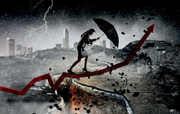 ciudad, tormenta, mujer con paraguas, grieta