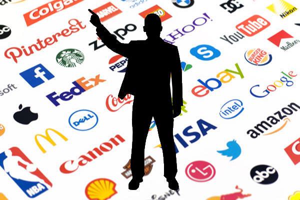 Marcas renombradas, empresas importantes, silueta de hombre