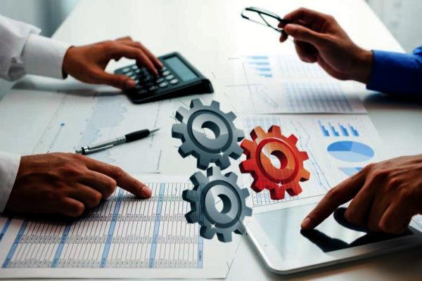 Cuentas, gráfico, personas trabajando, planilla, engranajes