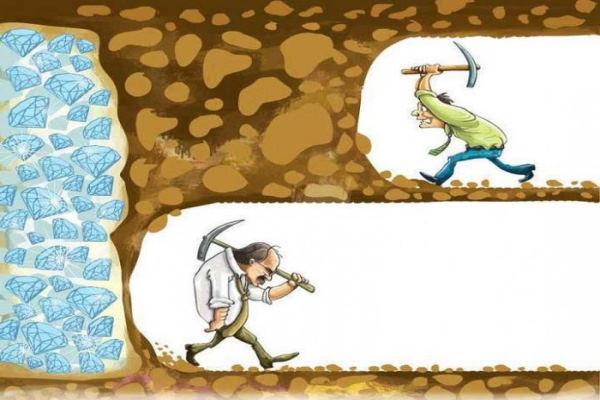 mina de diamantes, hombres cavando, perseverancia