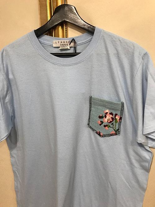 T-shirt à poche - Bleu - T. L