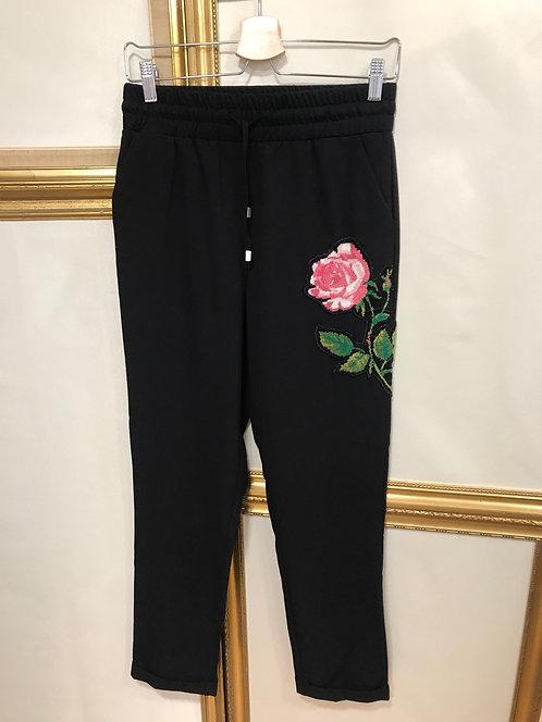 Pantalon relax à fleur- Noir - T.S