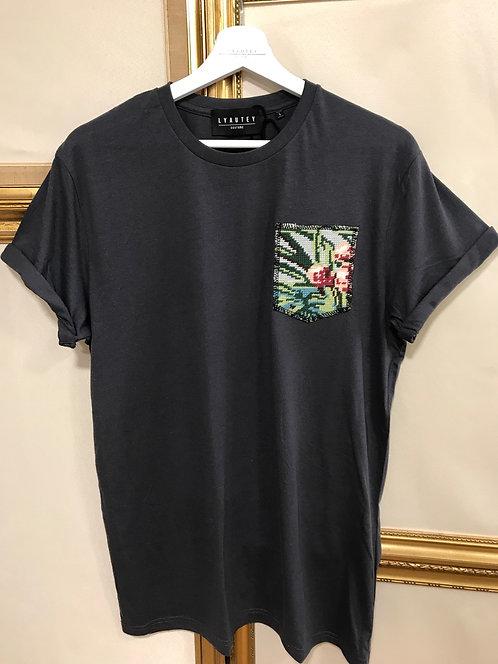 T-shirt à poche gris